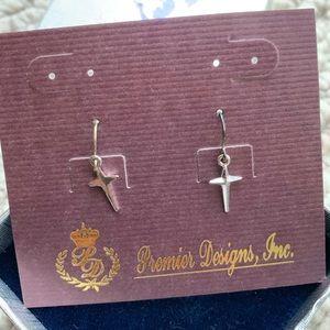 Silver cross  earrings by Premier Designs